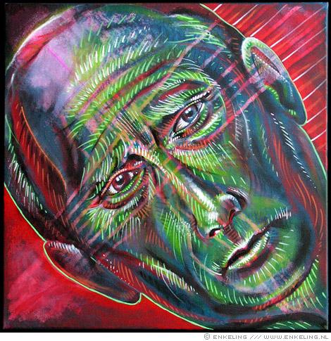 Vladimir Putin, portrait in acrylic paint