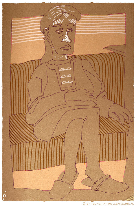 woman, couch, karton, Posca, viltstift, Enkeling, 2010