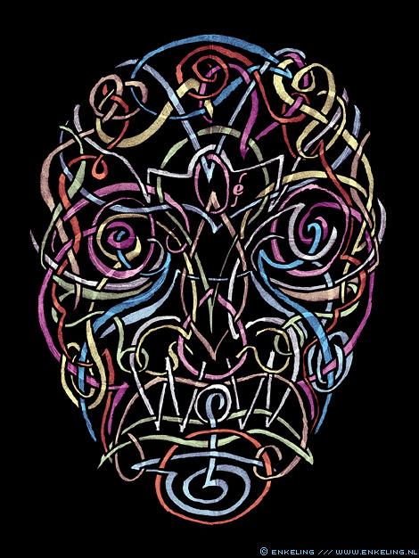 wow, drawing, face, skull, lines, viking, kwast, Enkeling, 2013