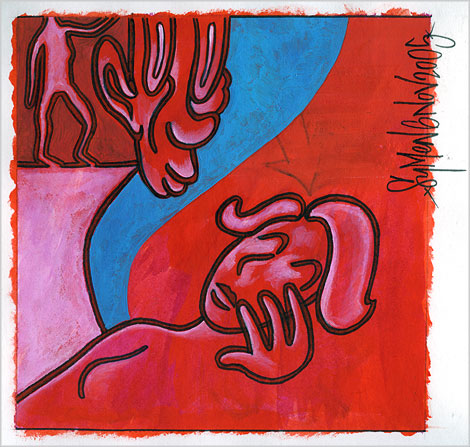 zorg, drawing ,care, acrylic paint, marker, red, blue, sad, Enkeling, 2005