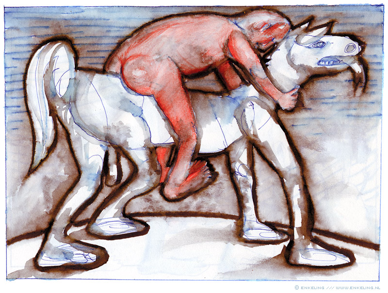 Horseback, man, horse, drawing, pen, ink, crayon, Enkeling, 2012