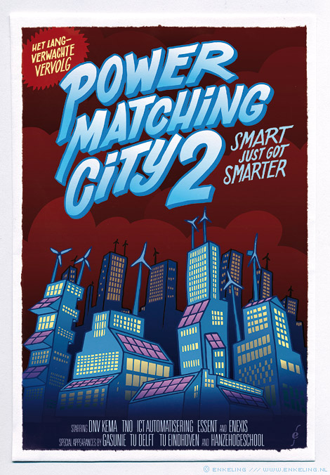 powermatching city, 2, illustration, energy, vv+, typography, movie poster, demonstratieproject, energie, infrastructuur, Enkeling, 2013